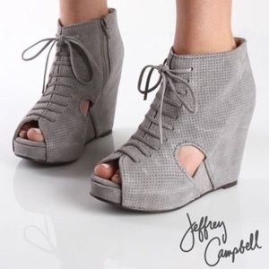 Jeffery Campbell Mary Rok Suede Wedges